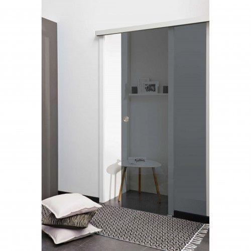 kit porte coulissante en verre tremp teint gris avec rail poign e ronde. Black Bedroom Furniture Sets. Home Design Ideas