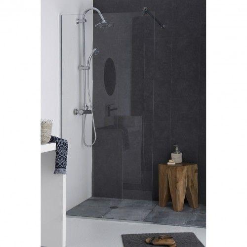 kit paroi de douche en verre tremp clair anticalcaire avec accessoires de pose. Black Bedroom Furniture Sets. Home Design Ideas