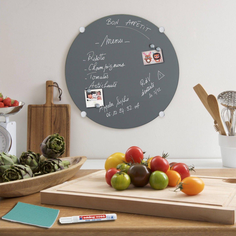 kit tableau aimant en verre gris format rond. Black Bedroom Furniture Sets. Home Design Ideas