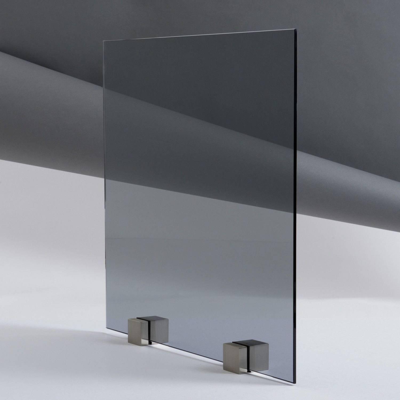 Kit porte coulissante en verre tremp teint gris avec for Kit montage brique de verre