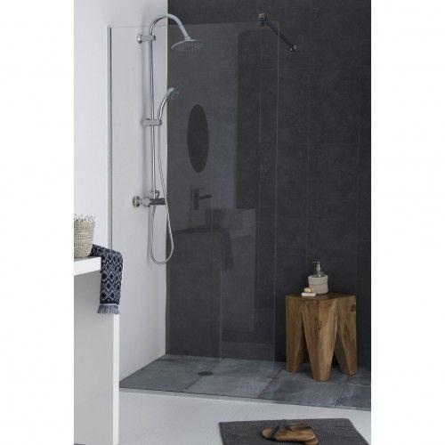 kit paroi de douche en verre tremp d poli acide avec accessoires de pose. Black Bedroom Furniture Sets. Home Design Ideas