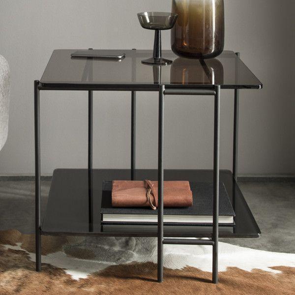 Mix Table Basse Design Verre Laqué Noir Et Teinté Bronze Piètement Noir