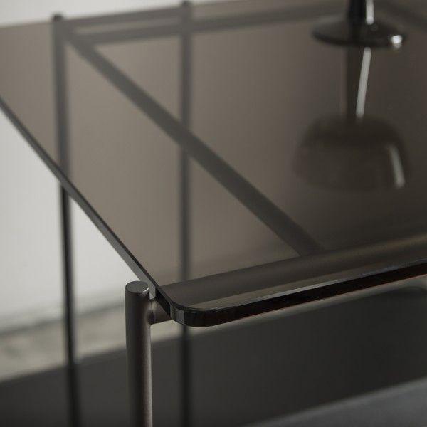 Mix Large Table Basse Design Verre Miroir Et Teinté Bronze Acier Noir